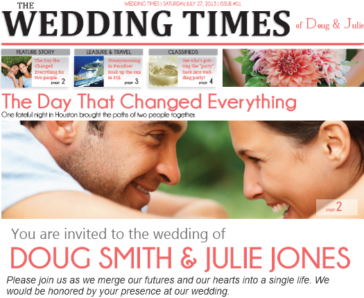 Wedding Invitation Newspaper